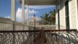 Scott Hines having zen moment in the hammock on Florida beach