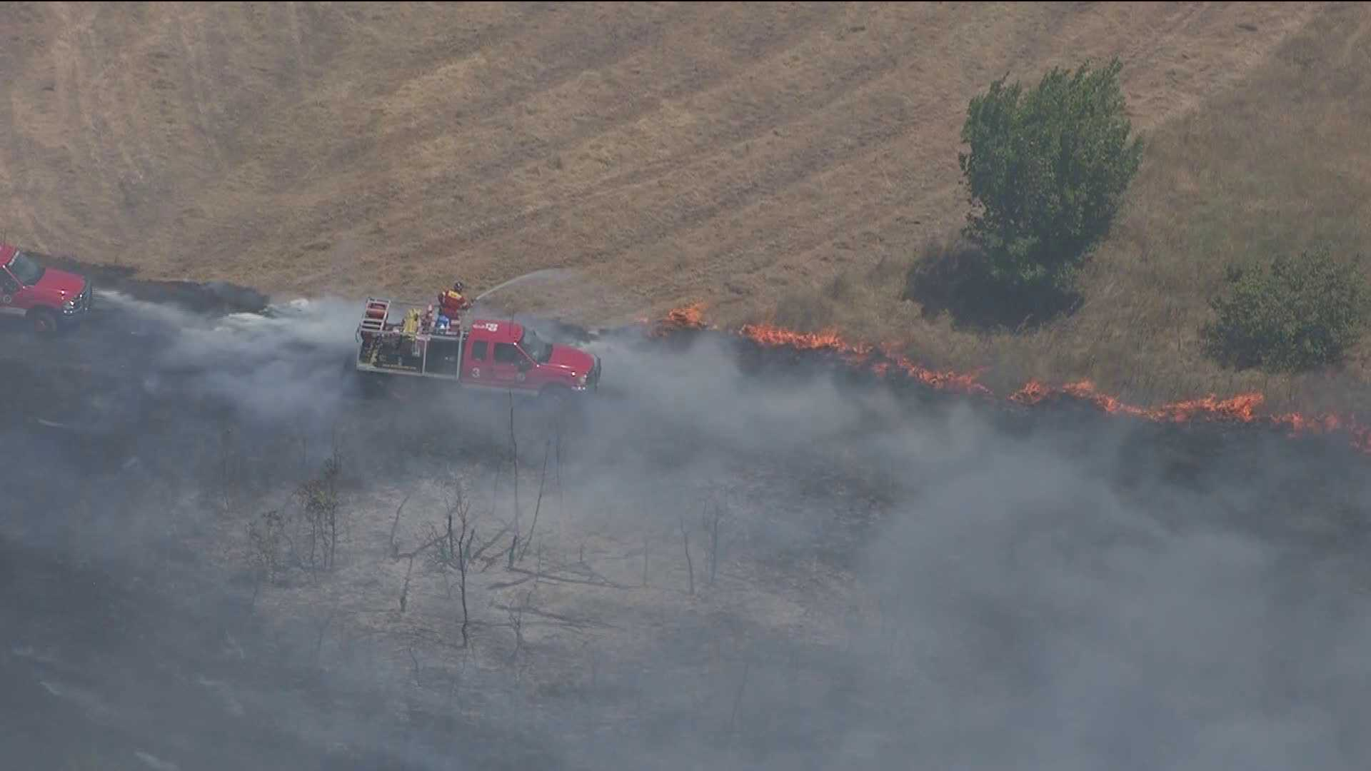 Grass fire in Cleveland County