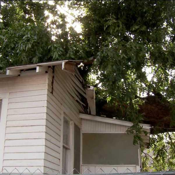 Winds blow tree on house - S.W. OKC Sept. 7