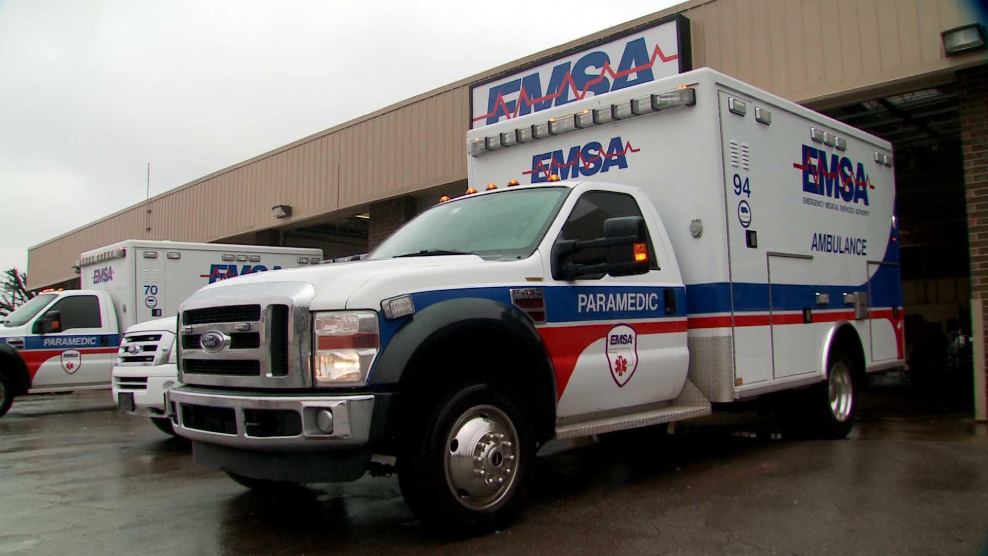 EMSA trucks exit parking bay at headquarters
