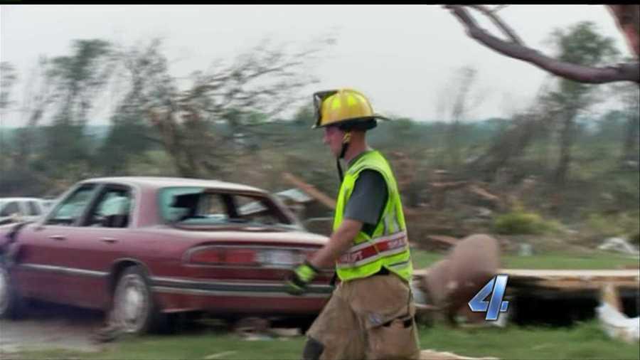 Emergency worker in tornado damage