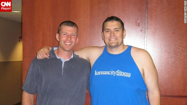 In June 2013, Cox won the spring 2013 Kansas City Fit Magazine weight-loss challenge. Here he poses with his coach, Ty Ratliff, his small town's elementary school gym teacher and high school football coach. (Courtesy: Luke Cox via CNN)