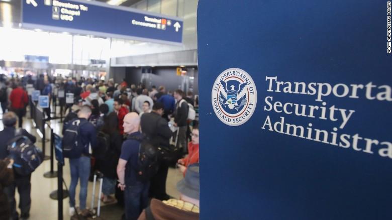 Long lines at TSA in airport