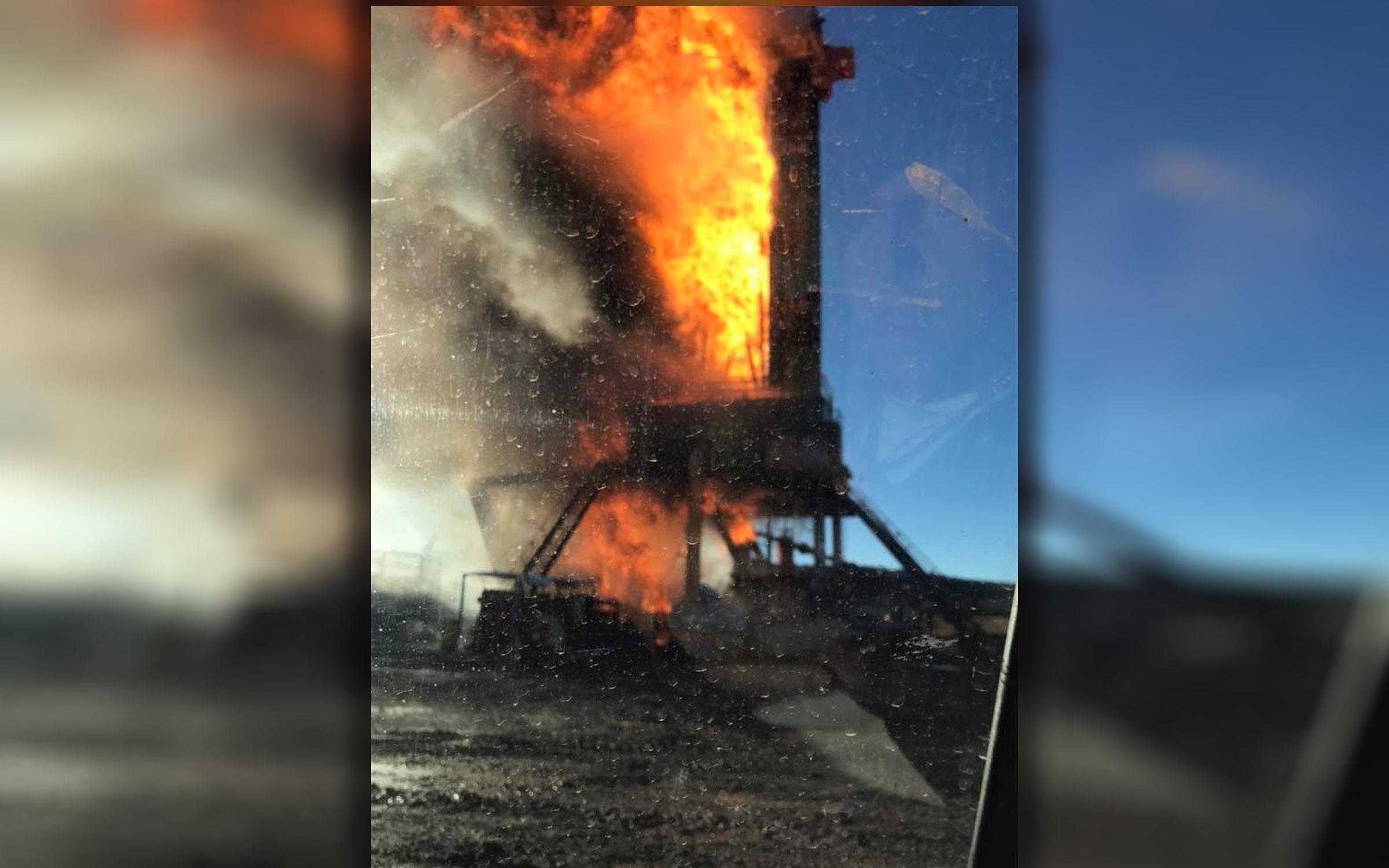 Oil rig explosion in Quinton. (Photo Courtesy: Zayne Erickson)