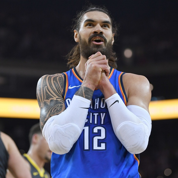 Steven Adams #12 of the Oklahoma City Thunder reacts after he was called for a foul against the Golden State Warriors during the first half of their NBA basketball game at ORACLE Arena on February 6, 2018 in Oakland, California. NOTE TO USER: User expressly acknowledges and agrees that, by downloading and or using this photograph, User is consenting to the terms and conditions of the Getty Images License Agreement. (Photo by Thearon W. Henderson/Getty Images)