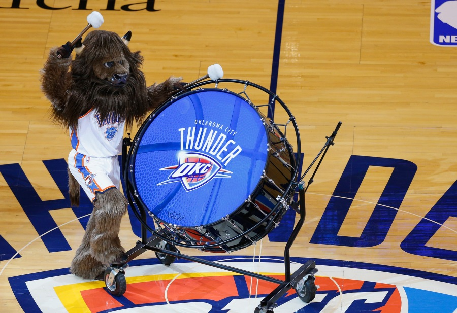 OKLAHOMA CITY, OK - MAY 31:  Oklahoma City Thunder mascot Rumble the Bison bangs a drum before the start of their Game Six against the San Antonio Spurs in the Western Conference Finals of the 2014 NBA Playoffs at Chesapeake Energy Arena on May 31, 2014 in Oklahoma City, Oklahoma. NOTE TO USER: User expressly acknowledges and agrees that, by downloading and or using this photograph, User is consenting to the terms and conditions of the Getty Images License Agreement.  (Photo by Tom Pennington/Getty Images)