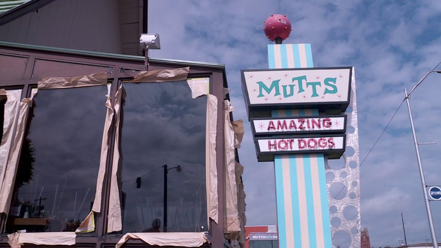 Tornado damages Mutts hot dog stand in May 2019