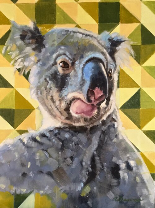 Painting by April Dawes of koala to benefit Australia