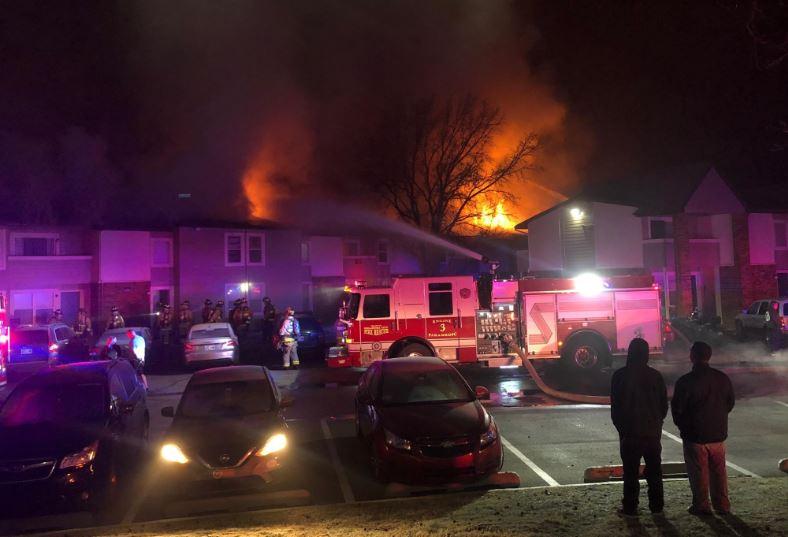 Crews battle N.W. OKC apartment fire.
