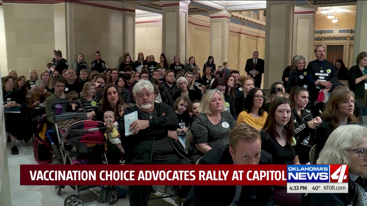 Parents rally at Oklahoma Capitol to push for 'right to choose' regarding vaccinations