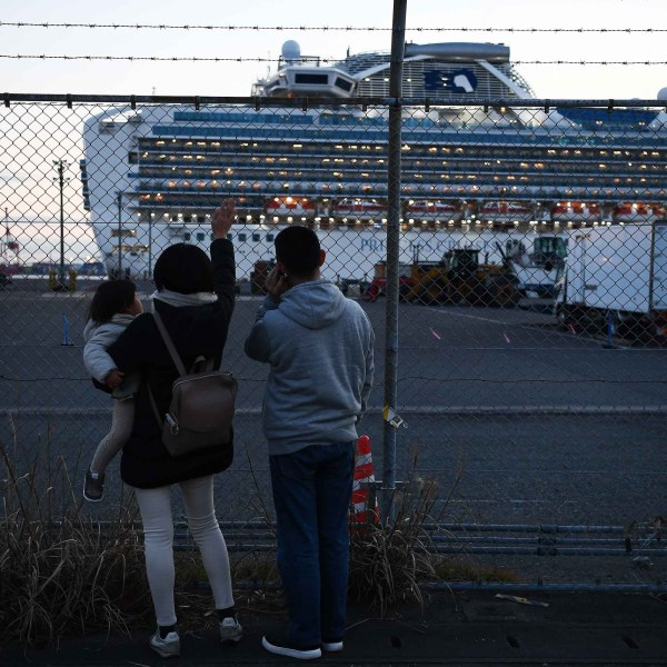 Relatives of passengers wave towards the Diamond Princess cruise ship, with around 3,600 people quarantined onboard due to fears of the new coronavirus