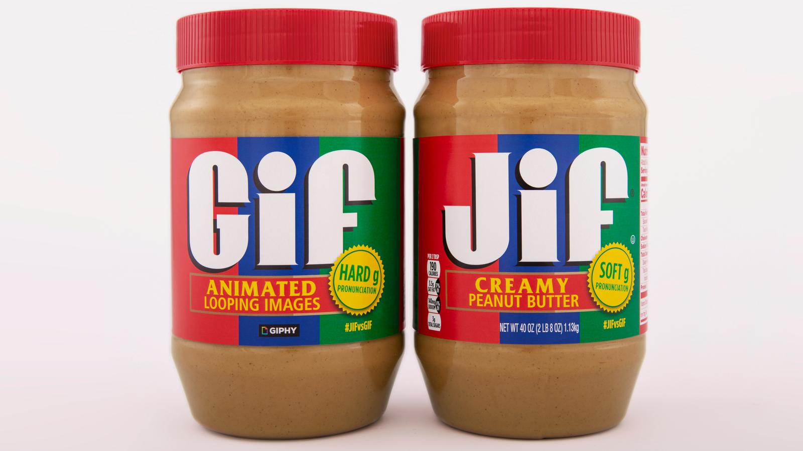 Jif and gif peanut butter jars