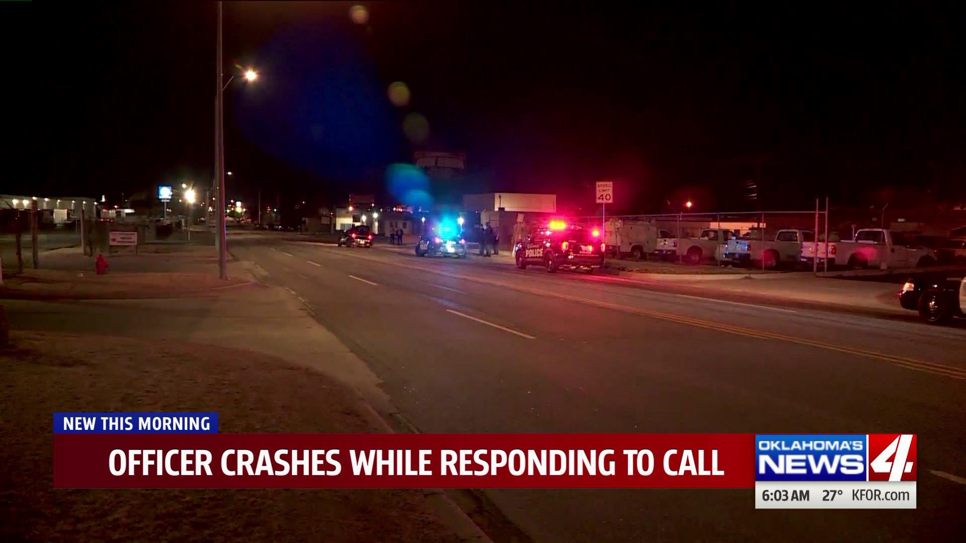 Officer crashes patrol car