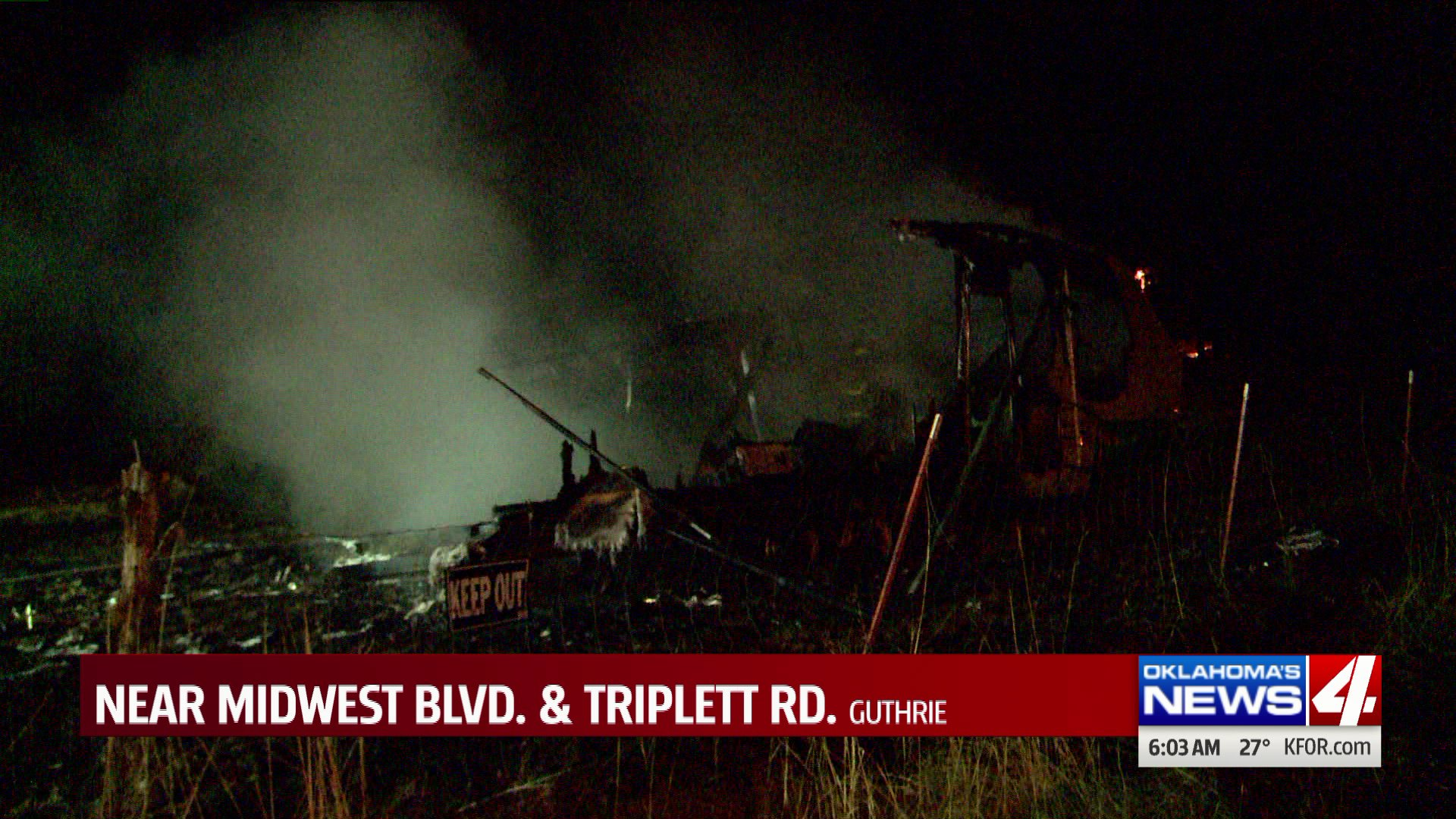 RV fire in Guthrie