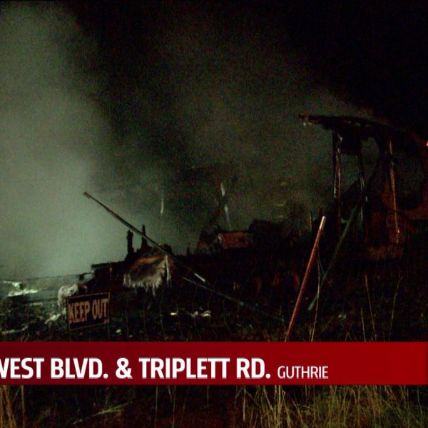 RV fire in Guthrie