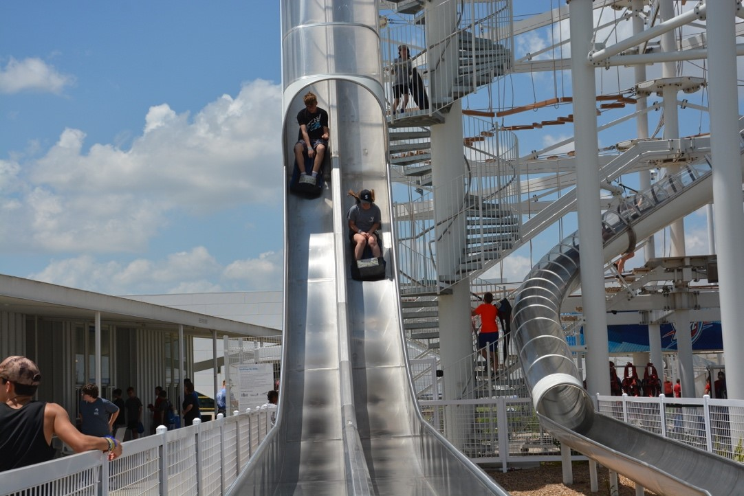 High speed slides and the SandRidge Sky Trail, two of the activities opening at RIVERSPORT, on Saturday, March 14.