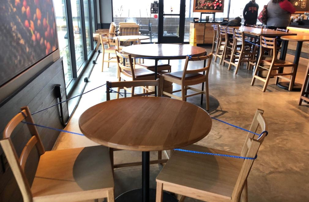 Starbucks tables blocked off