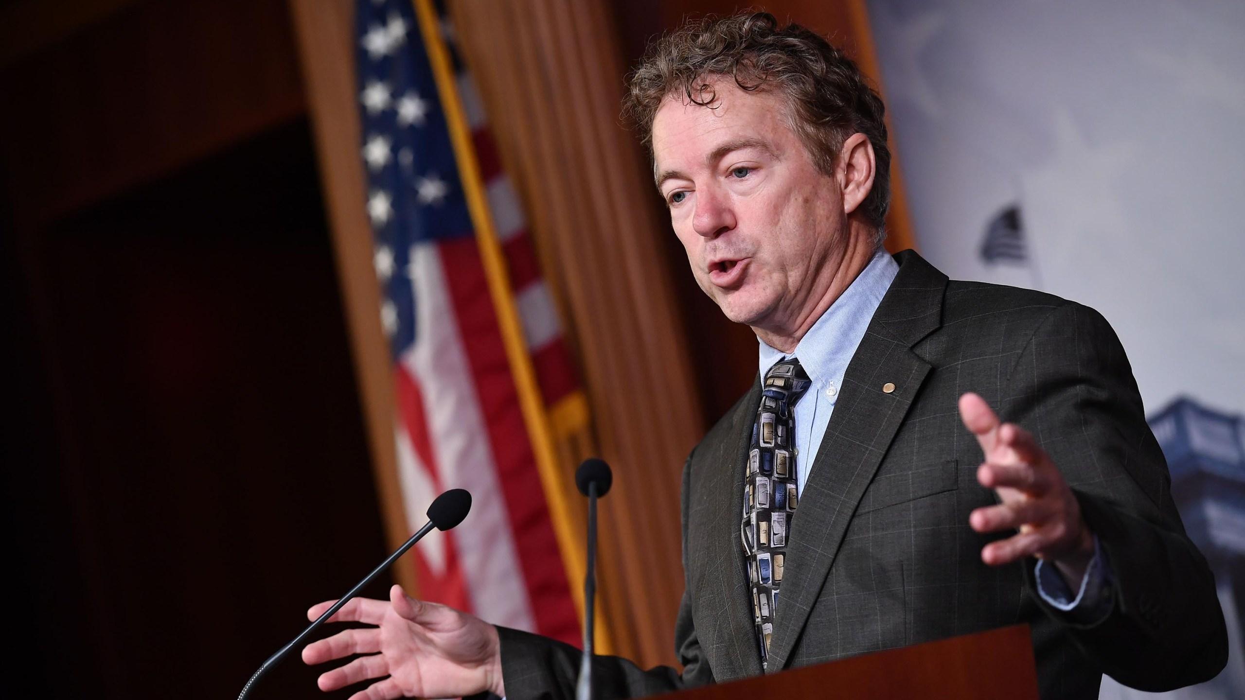 Kentucky senator Rand Paul speaks behind podium