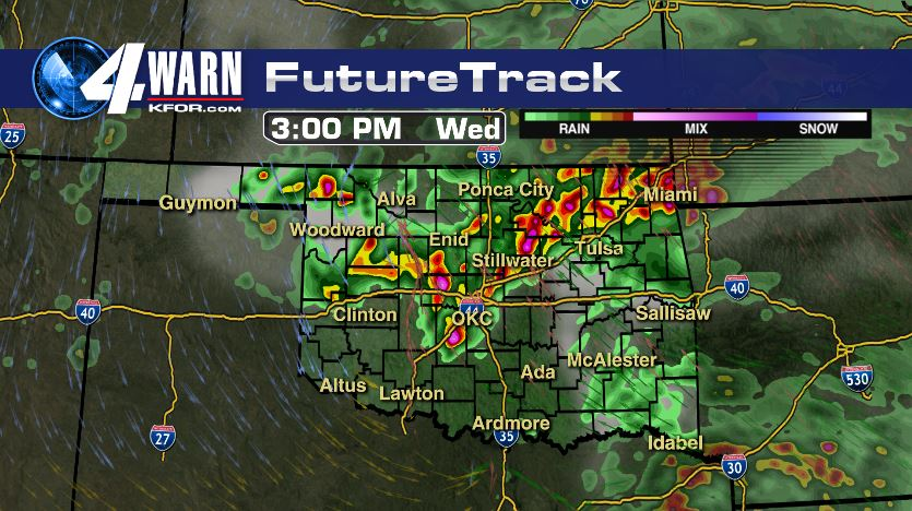 Futuretrack showing supercells near the Metro at 3PM Wednesday.