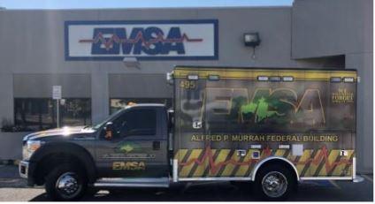 EMSA ambulance honoring bombing survivors