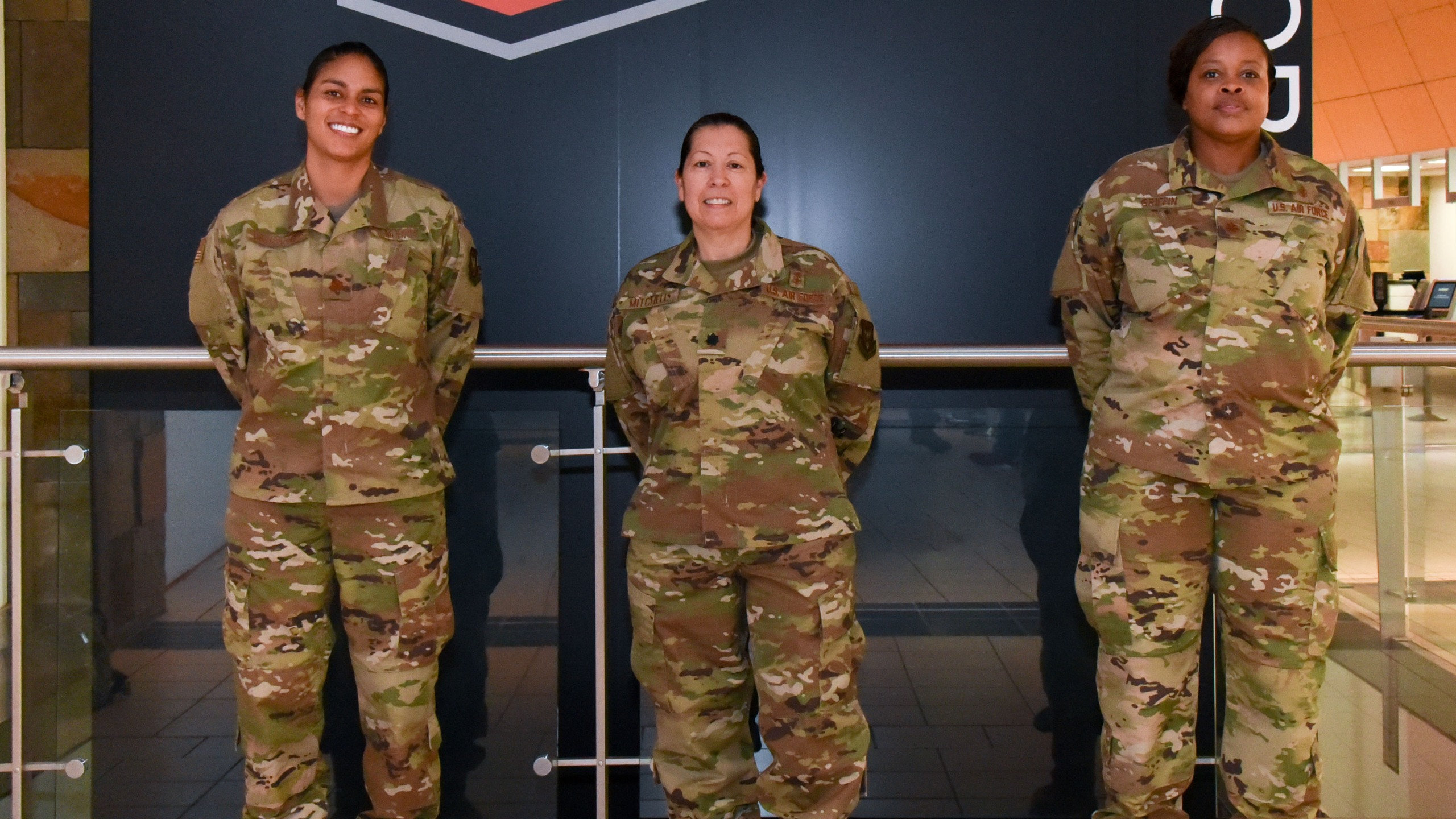 Maj. Lisa Morris, Lt. Col. Esther Mitchell and Maj. Jolina Griffin, nurses with the 507th Medical Squadron at Tinker Air Force Base, Oklahoma, prepare to deploy to help the fight against COVID-19 April 7, 2020. The deployment is part of a larger mobilization package of more than 120 doctors, nurses and respiratory technicians Air Force Reserve units across the nation provided within 48 hours in support of COVID-19 response to take care of Americans. (U.S. Air Force photo by Senior Airman Mary Begy)
