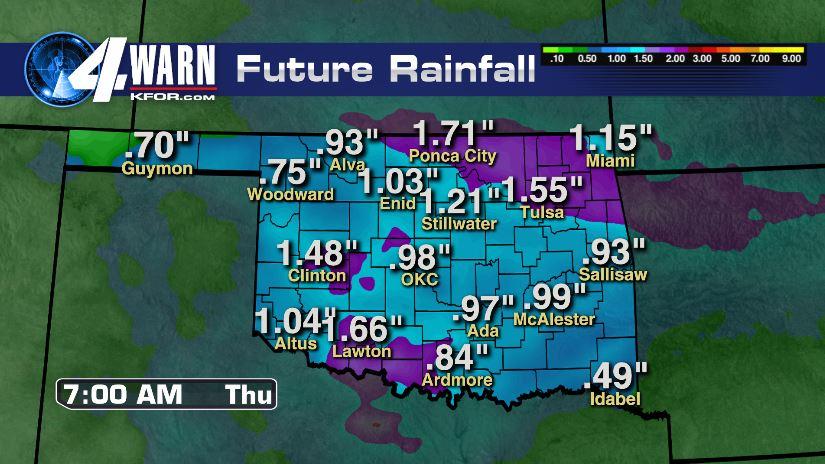 Rain Totals Through Early Thursday