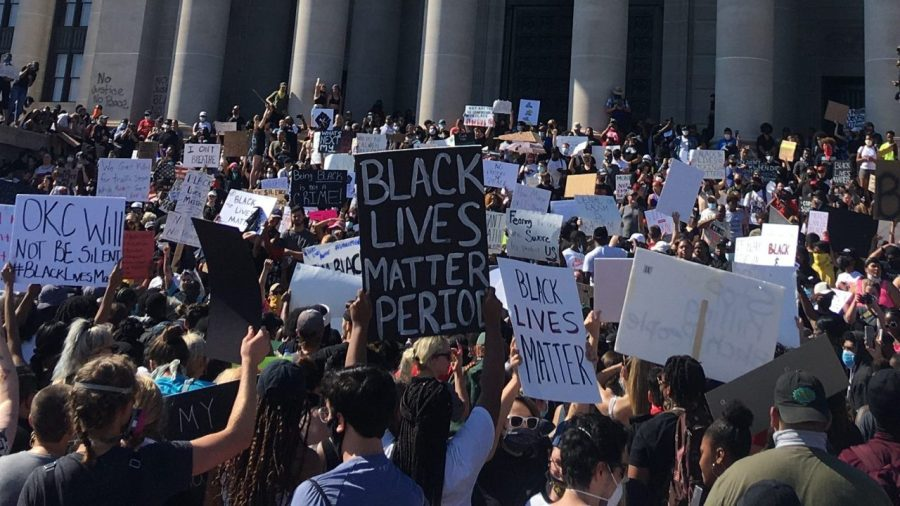 A protest held Sunday, May 31 at the Oklahoma Capitol in response to the death of George Floyd beneath the knee of a Minneapolis police officer.