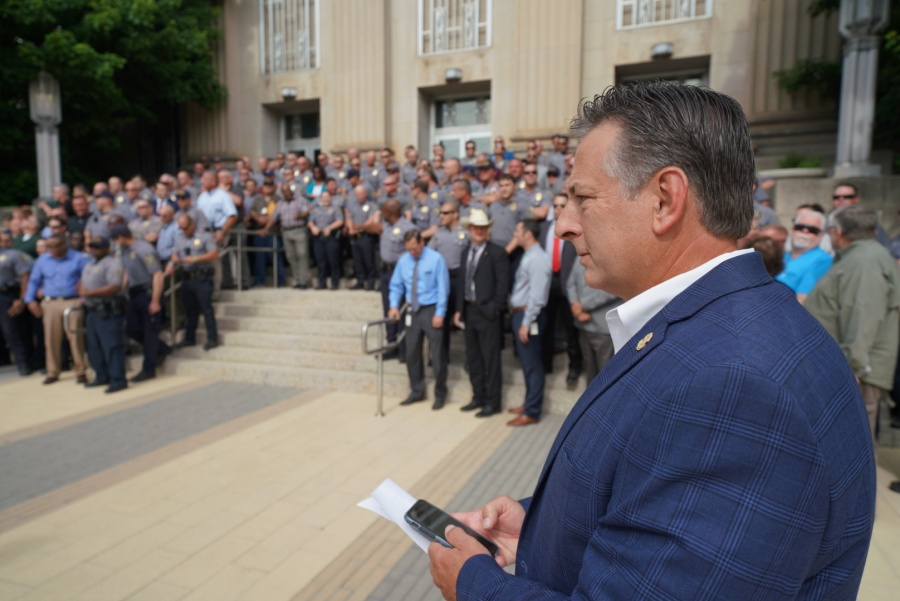 Oklahoma City Fraternal Order of Police gather at OKC City Hall to show support for Police Chief Wade Gourley
