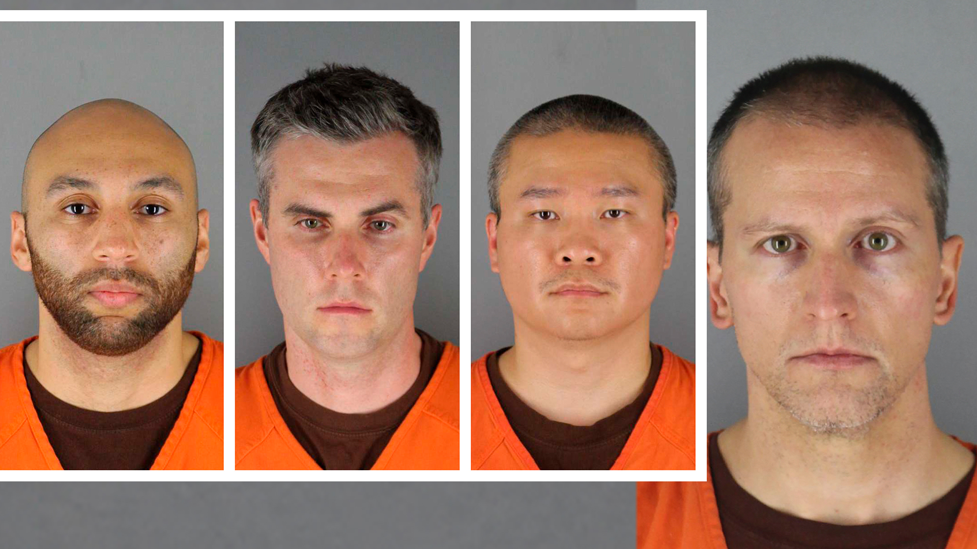 mug shots of 4 officers charged in the George Floyd case