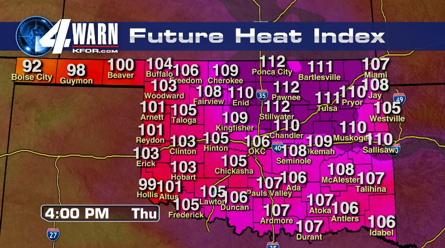 Dangerous Heat Index Thursday Afternoon