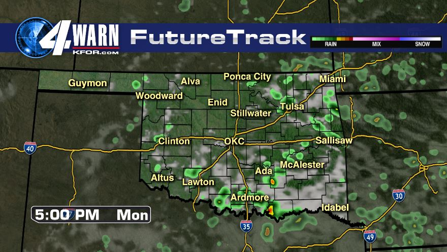 Widely Scattered Storms Monday