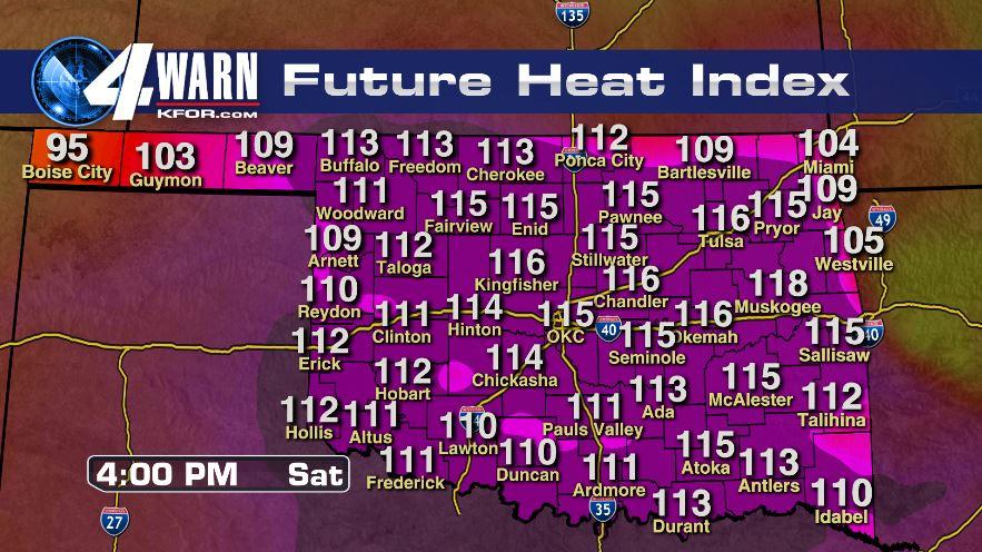 Dangerous Heat Index to 116 Saturday!
