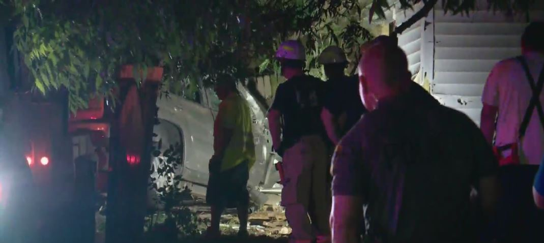 Police are looking for the driver of a vehicle who took off after hitting a home near S.W. 30th and Agnew.