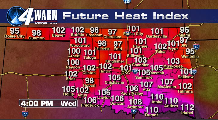Heat Index to 110 Degrees Wednesday