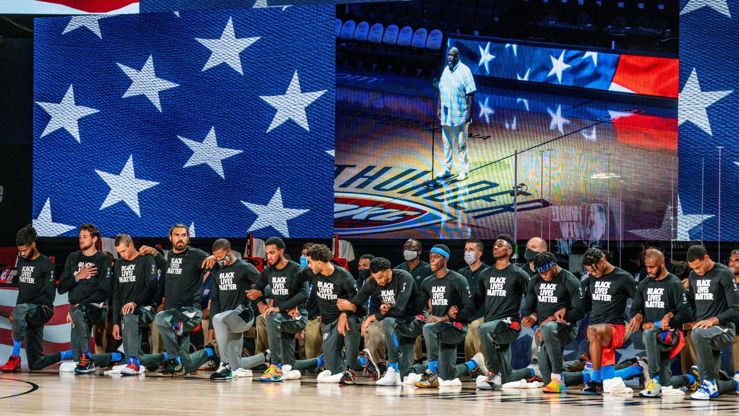 Entire Okc Thunder Team Kneels During National Anthem Before Their First Nba Restart Game Kfor Com Oklahoma City