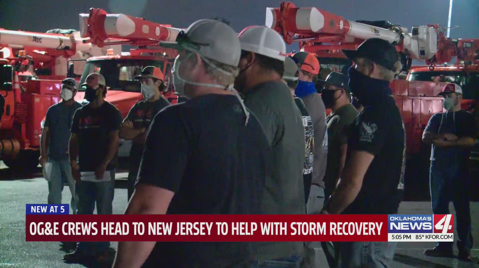 Oklahoma linemen are going to New Jersey to help recovery efforts in the wake of Tropical Storm Isaias.