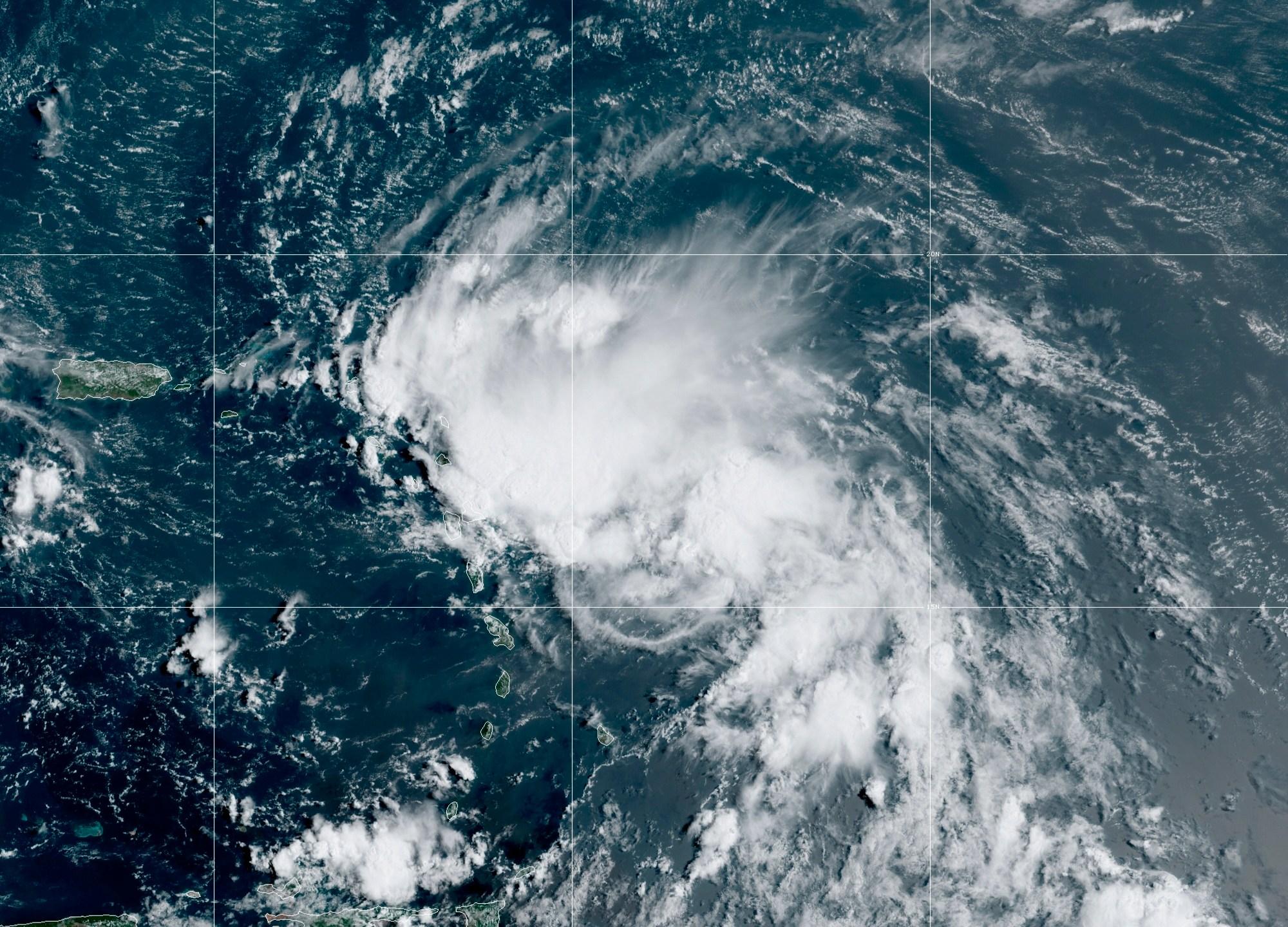satellite image of Tropical Storm Laura in the North Atlantic Ocean