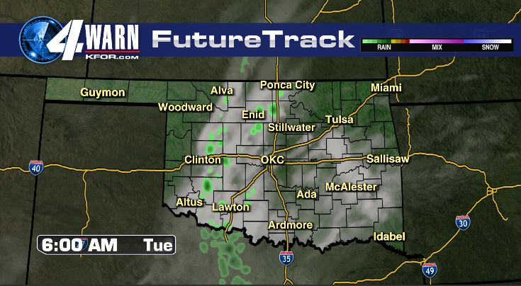 Few Showers Early Tuesday