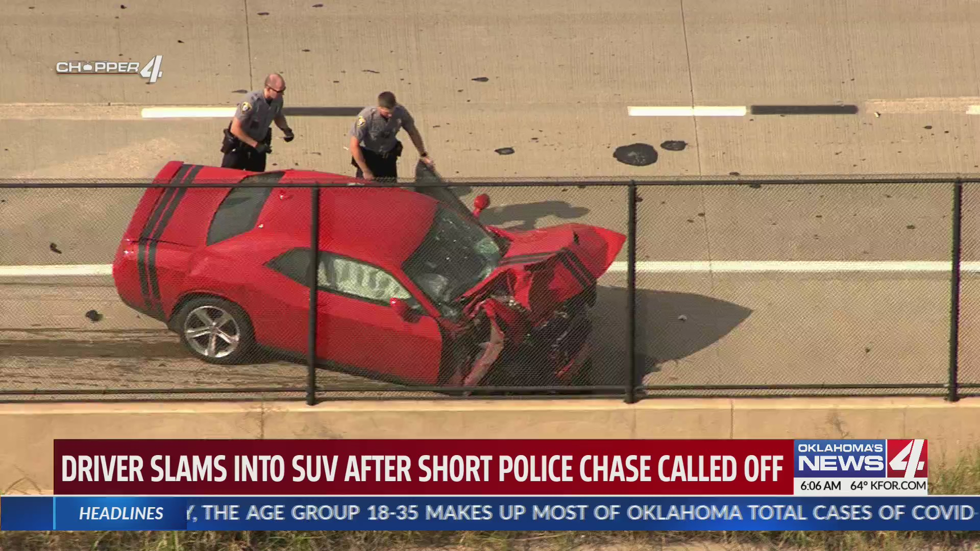 Car crashes after chase