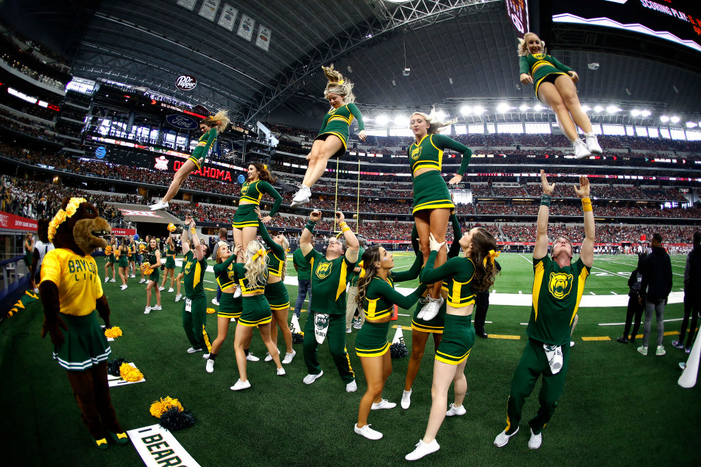 ARLINGTON, TX - DECEMBER 07: The Baylor Bears Cheerleaders perform as the Oklahoma Sooners play the Baylor Bears in the first half of the Big 12 Football Championship at AT&T Stadium on December 7, 2019 in Arlington, Texas. (Photo by Ron Jenkins/Getty Images)