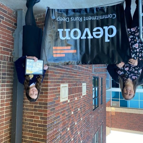 Mulhall FFA President Baylee Brown with Devon's Allison Bailey