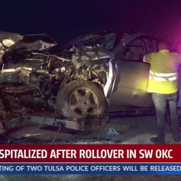 Rollover crash scene