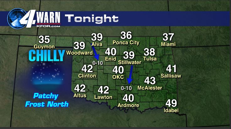Patchy Frost Early Friday