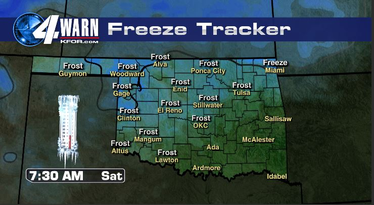 Frost/Freeze Early Saturday