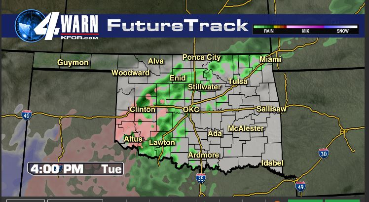 Freezing rain switches to rain for OKC Tuesday afternoon