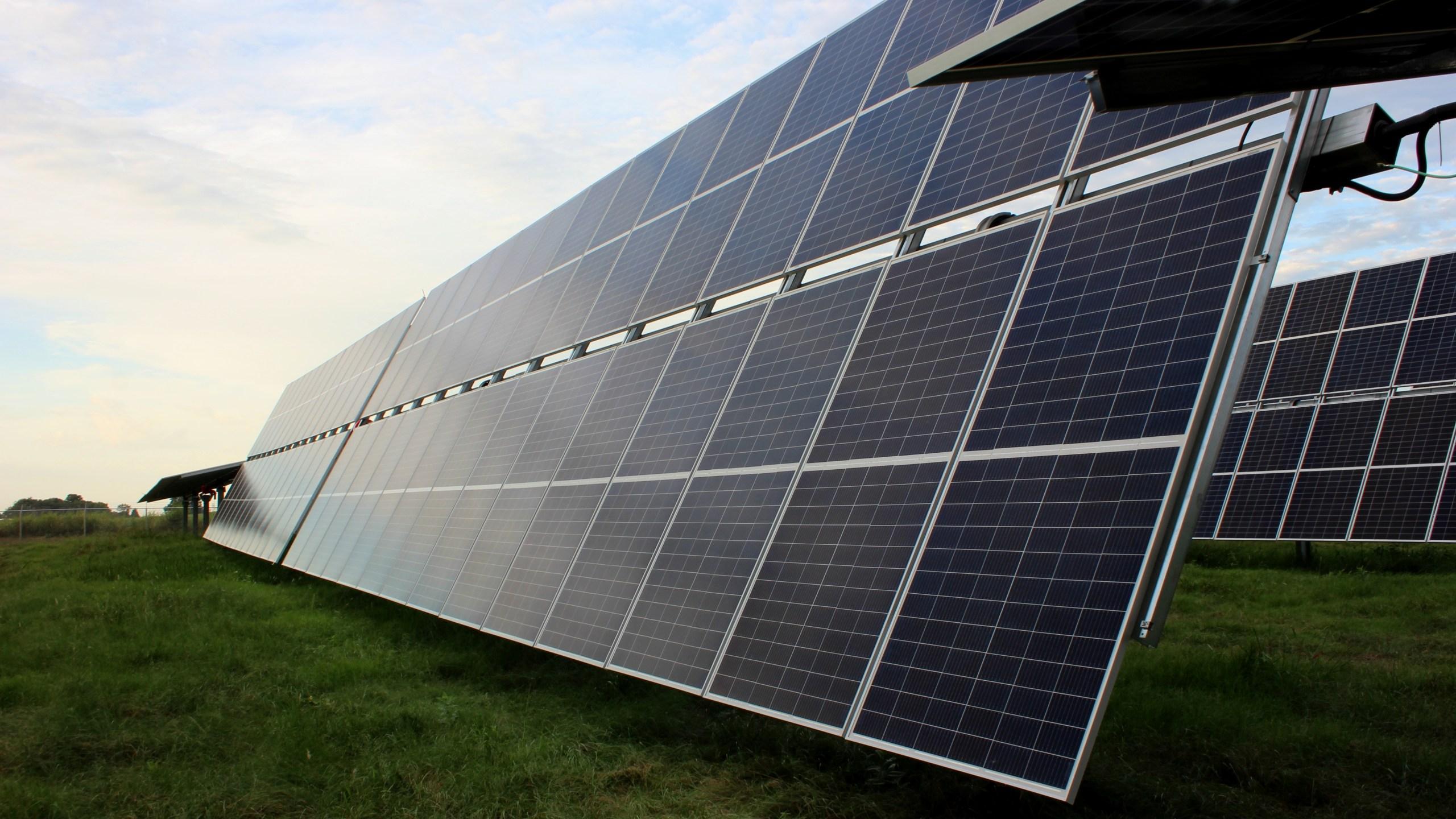 Choctaw Solar Farm tilted panels