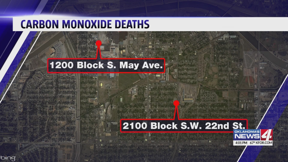 map of where two people died of suspected carbon monoxide poisonings