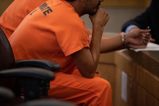 picture of an inmate in court