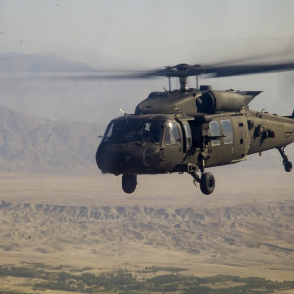 A U.S. Army UH-60 Black Hawk helicopter, assigned to 1st Combat Aviation Brigade, 1st Infantry Division, during a mission in eastern Afghanistan Oct. 23, 2016. (Photo by Capt. Grace Geiger)