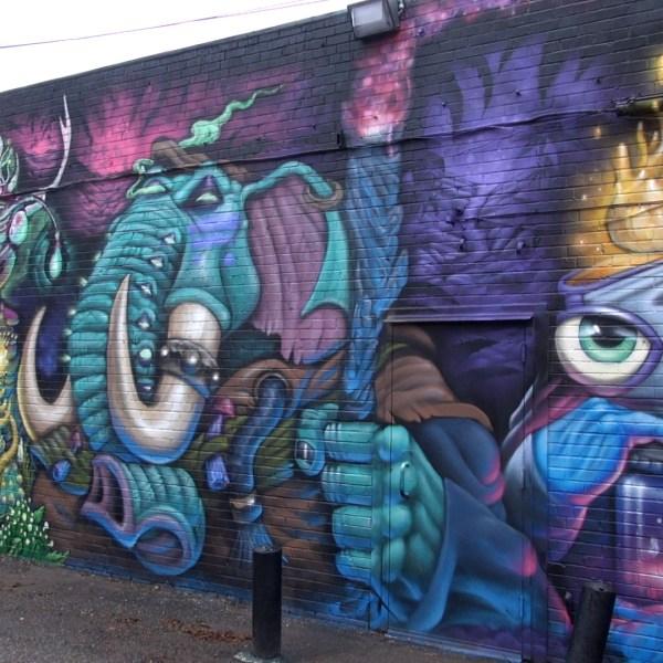 Sean Vali and Joe Skilz mural at Plaza Walls